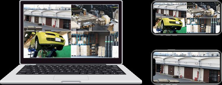 パソコン・スマートフォンで見る日中の倉庫・工場の遠隔監視イメージ