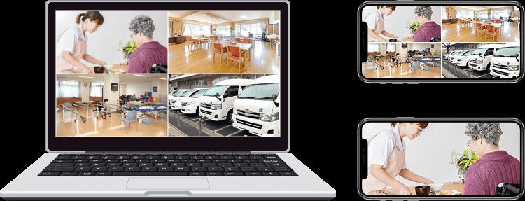 パソコン・スマートフォンで見る日中の福祉施設の遠隔監視イメージ