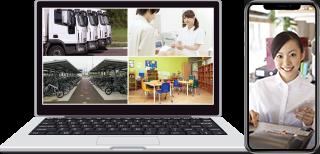 日本防犯設備の遠隔監視カメラシステムはインターネット回線が無くても、パソコンやスマホでいつでもどこでも視聴ができます。