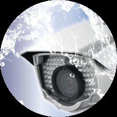 日本防犯設備の屋外用防犯カメラは、不審者による防犯カメラへの破壊行為や、雨や風、熱にも強い「耐衝撃・防塵・防水仕様」になっています。