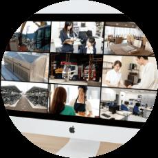 全国各地に点在する各拠点の監視カメラ映像を、1台のパソコンやスマートフォンで遠隔監視を行うことができるため、現地に出向くことなく本部で管理を行うことができます。